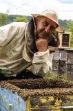 Imker auf dem Bienenhaus Stockfotografie