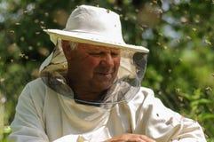 Imker- und Bienenschwarm Lizenzfreies Stockbild