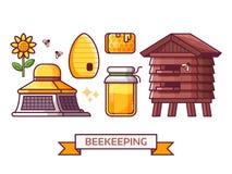 Imkerei und Bienenhaus-Ikonen-Satz Lizenzfreie Abbildung