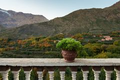 Imlil wioska, piękny widok od hotelu, atlant góry Obraz Stock