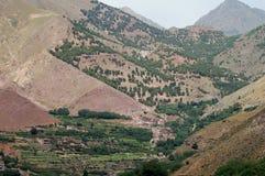 Imlildorp en Vallei, Hoge Atlasbergen, Marokko Royalty-vrije Stock Afbeeldingen