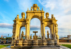 Immacolata Fountain at the seaside in Naples Royalty Free Stock Photos
