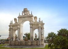Immacolata Fountain at the seaside in Naples - Italy Stock Images