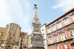 The Immacolata obelisk in Naples, Italy Stock Photos