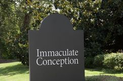 Immaculate Conception. The Immaculate Conception is the conception of the Blessed Virgin Mary free from original sin by virtue of the merits of her son Jesus stock images