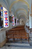 Immaculate Conception Cathedral, Pondicherry. Interior view stock photo