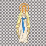 Immaculate Conception of the Virgin Mary. December 8. Greeting card. Hand drawn  illustration. Transparent background Stock Image