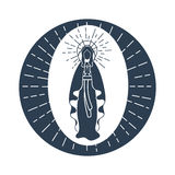 Immaculate Conception of the Virgin Mary. Greeting card. Holiday - Immaculate Conception of the Virgin Mary. Icon in the linear style Royalty Free Stock Image