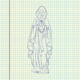 Immaculate Conception of the Virgin Mary. December 8. Greeting card. Hand drawn  illustration. Sheet ball pen drawing Stock Image