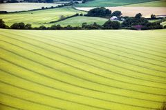 The farming landscape at Firle Beacon in East Sussex, England. The immaculate fields of crops on this chalk farming landscape show how much care the farmers of royalty free stock photos