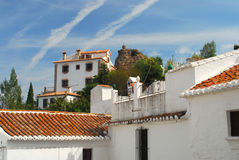 Immaculate spanish town. White washed houses during siesta time in Spain Royalty Free Stock Photos
