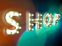 Immagazzini il segno con le lampadine Fotografia Stock Libera da Diritti