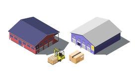 Immagazzini l'insieme isometrico di costruzione con il carrello elevatore a forcale e le scatole di cartone, isolati su bianco Fotografia Stock