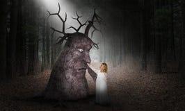 Immaginazione di fantasia, amici, natura, scena del libro di fiabe fotografie stock libere da diritti