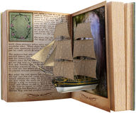 Immaginazione, lettura, libro, libro di fiabe isolato fotografia stock libera da diritti