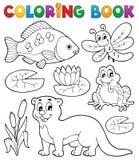 Immagine 1 di fauna del fiume del libro da colorare Immagini Stock Libere da Diritti