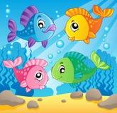 Immagine 1 di tema dei pesci Immagini Stock Libere da Diritti