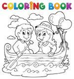 Immagine 1 di tema di amore del libro da colorare Immagini Stock Libere da Diritti