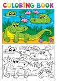 Immagine 2 del coccodrillo del libro da colorare Fotografie Stock