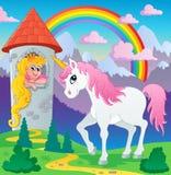 Immagine 3 di tema dell'unicorno di fiaba Immagini Stock Libere da Diritti