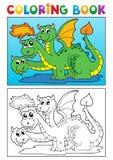 Immagine 4 di tema del drago del libro da colorare Fotografia Stock Libera da Diritti