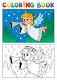 Immagine 4 di tema di angelo del libro da colorare Immagini Stock Libere da Diritti