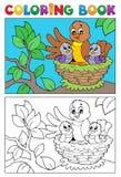 Immagine 5 dell'uccello del libro da colorare Fotografia Stock