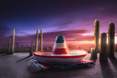 Immagine ad alto contrasto del cappello messicano fotografie stock
