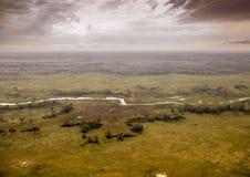 Immagine aerea del delta di Okavango nel Botswana immagini stock libere da diritti