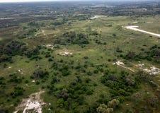 Immagine aerea del delta di Okavango nel Botswana fotografie stock libere da diritti