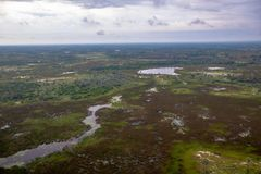 Immagine aerea del delta di Okavango nel Botswana immagine stock