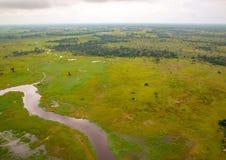 Immagine aerea del delta di Okavango nel Botswana fotografia stock
