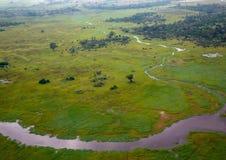 Immagine aerea del delta di Okavango nel Botswana fotografie stock