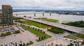 Immagine aerea di Des Moines del centro Iowa fotografia stock