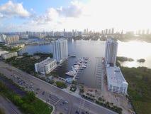 Immagine aerea di Marina Palms Miami fotografia stock