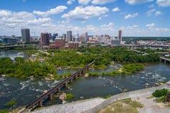 Immagine aerea Richmond Virginia e James River del centro fotografia stock libera da diritti
