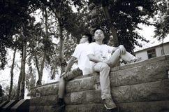 Immagine asiatica di graduazione dell'istituto universitario Fotografia Stock Libera da Diritti