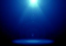 Immagine astratta del chiarore blu di illuminazione sulla fase del pavimento Fotografia Stock Libera da Diritti
