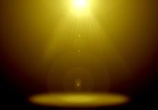 Immagine astratta del chiarore di illuminazione dell'oro sulla fase del pavimento Immagini Stock Libere da Diritti