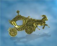 immagine astratta di fantasia Hourses dorati con vagon che si muove verso l'alto Textspace in vagone e in surrondings immagine stock libera da diritti