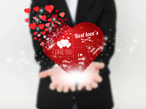 Immagine astratta di vettore di concetto dell'uomo con cuore Per il web ed il cellulare su fondo, illustrazione di arte di vettor Immagine Stock Libera da Diritti