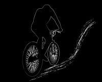 Immagine bianca del motociclista della montagna Immagini Stock
