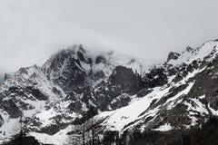 Immagine in bianco e nero del Monte Bianco, alpi italiane Fotografia Stock Libera da Diritti