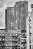 Immagine in bianco e nero delle costruzioni in New York Fotografia Stock Libera da Diritti
