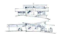 Immagine in bianco e nero di una disposizione della casa Immagini Stock