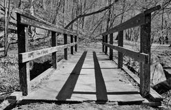 Immagine in bianco e nero di vecchio ponte Immagini Stock Libere da Diritti