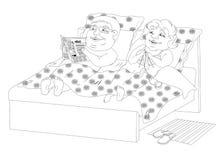 Immagine in bianco e nero grassa della gente a letto - royalty illustrazione gratis