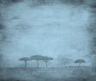 Immagine candeggiata dell'alberi su un documento dell'annata Fotografie Stock