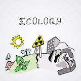 Immagine circa ecologia su fondo leggero Illustrazione di Stock