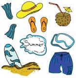 Immagine colorata tirata con la roba di estate Immagine Stock Libera da Diritti